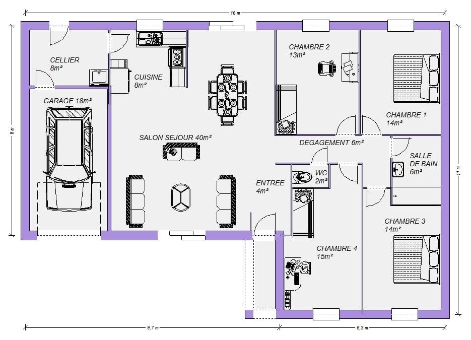 Plan Gratuit De Maison Plain Pied Barthurst 130m 6 Pieces 4 Chambres Maisons Elegance