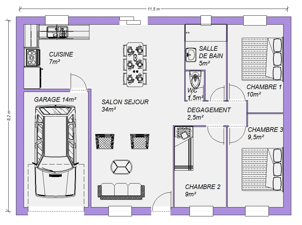 Plan Gratuit De Maison Plain Pied Bananal 78m 5 Pieces 3 Chambres Maisons Elegance