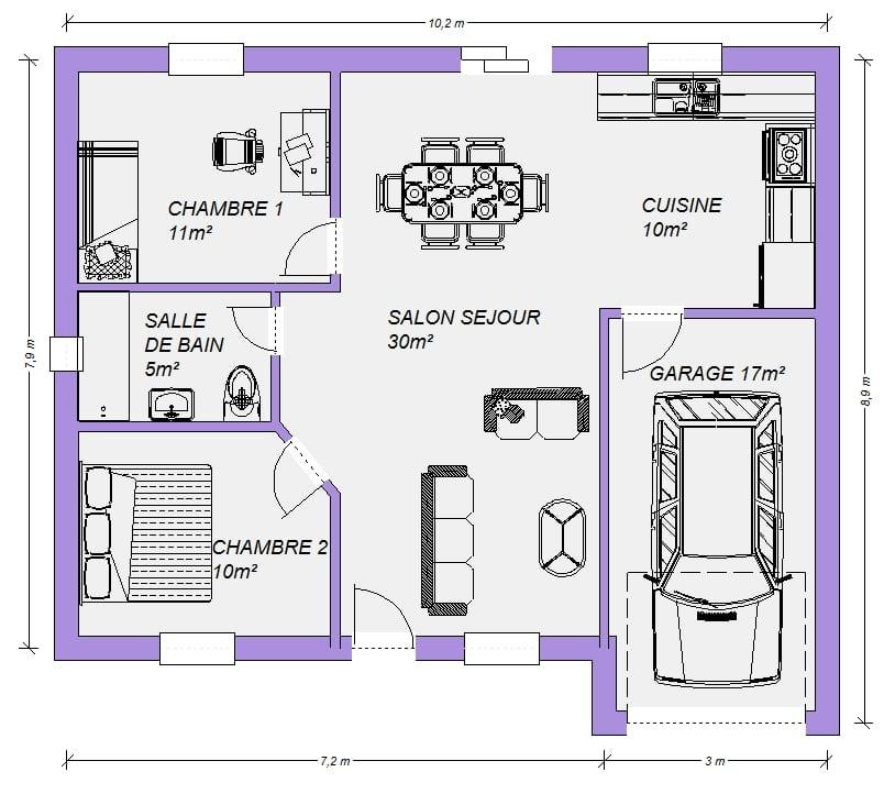 Plan Gratuit De Maison Plain Pied Bolchevik 66m 4 Pieces 2 Chambres Maisons Elegance